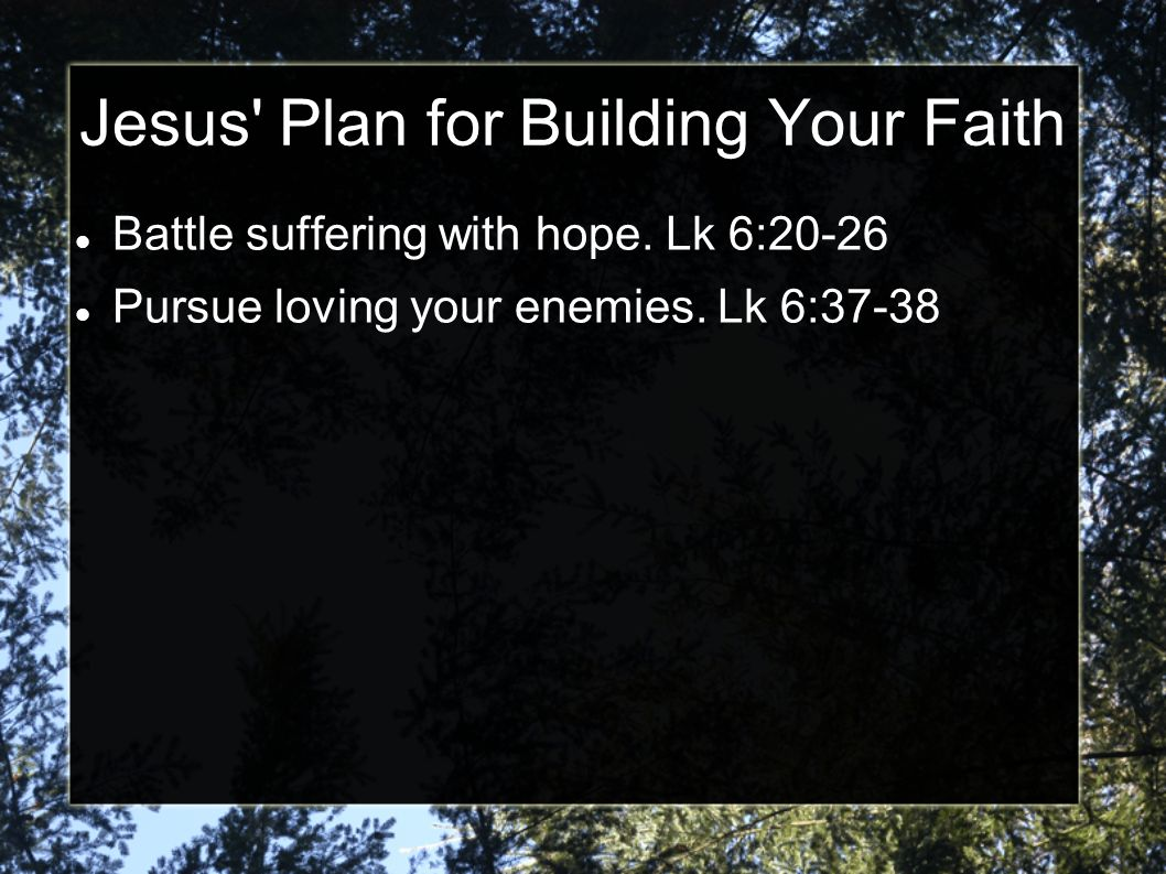 Jesus Plan for Building Your Faith Battle suffering with hope.