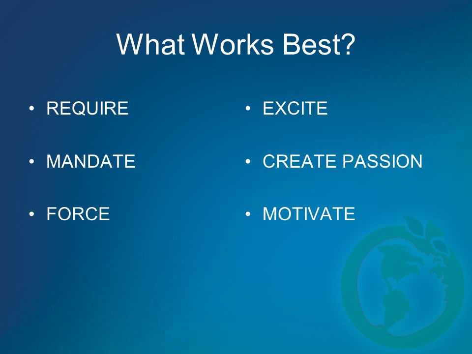 What Works Best? REQUIRE MANDATE FORCE EXCITE CREATE PASSION MOTIVATE