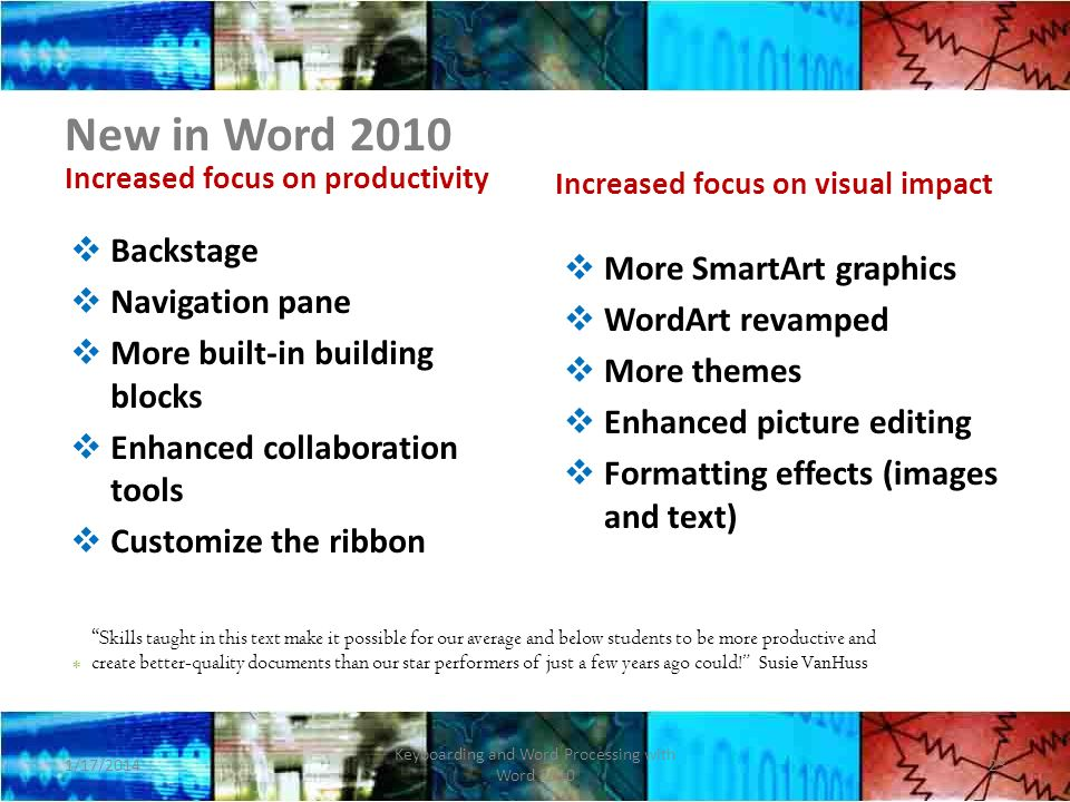 New in Word 2010 Increased focus on productivity Backstage Navigation pane More built-in building blocks Enhanced collaboration tools Customize the ribbon Increased focus on visual impact More SmartArt graphics WordArt revamped More themes Enhanced picture editing Formatting effects (images and text) 1/17/2014 Keyboarding and Word Processing with Word 2010 23 * Skills taught in this text make it possible for our average and below students to be more productive and create better-quality documents than our star performers of just a few years ago could.