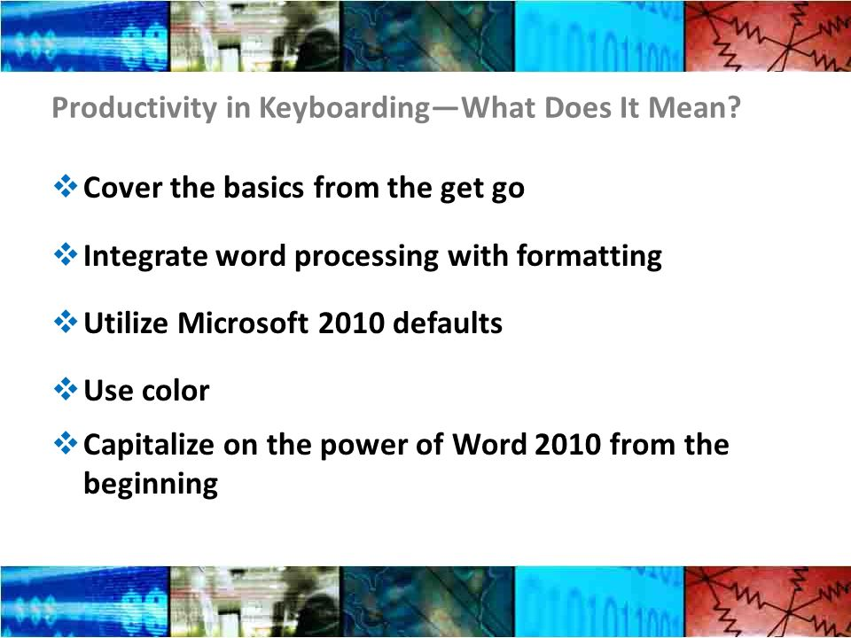 Productivity in KeyboardingWhat Does It Mean.