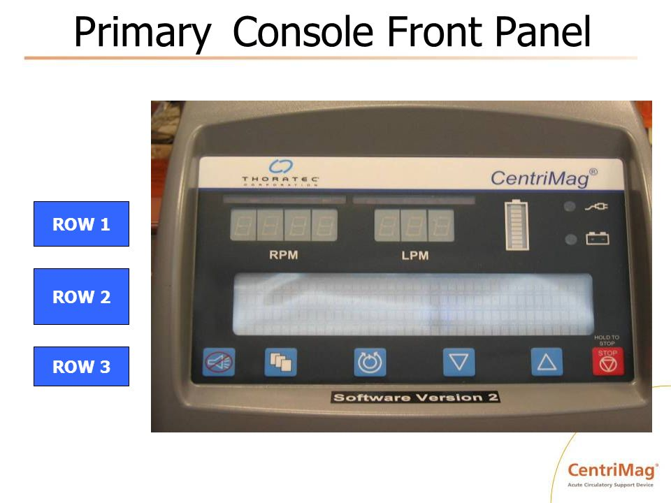 Primary Console Front Panel ROW 1 ROW 2 ROW 3