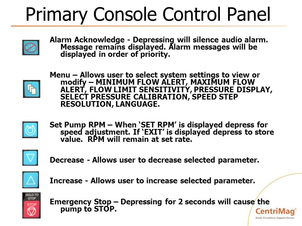 Primary Console Control Panel Alarm Acknowledge - Depressing will silence audio alarm. Message remains displayed. Alarm messages will be displayed in