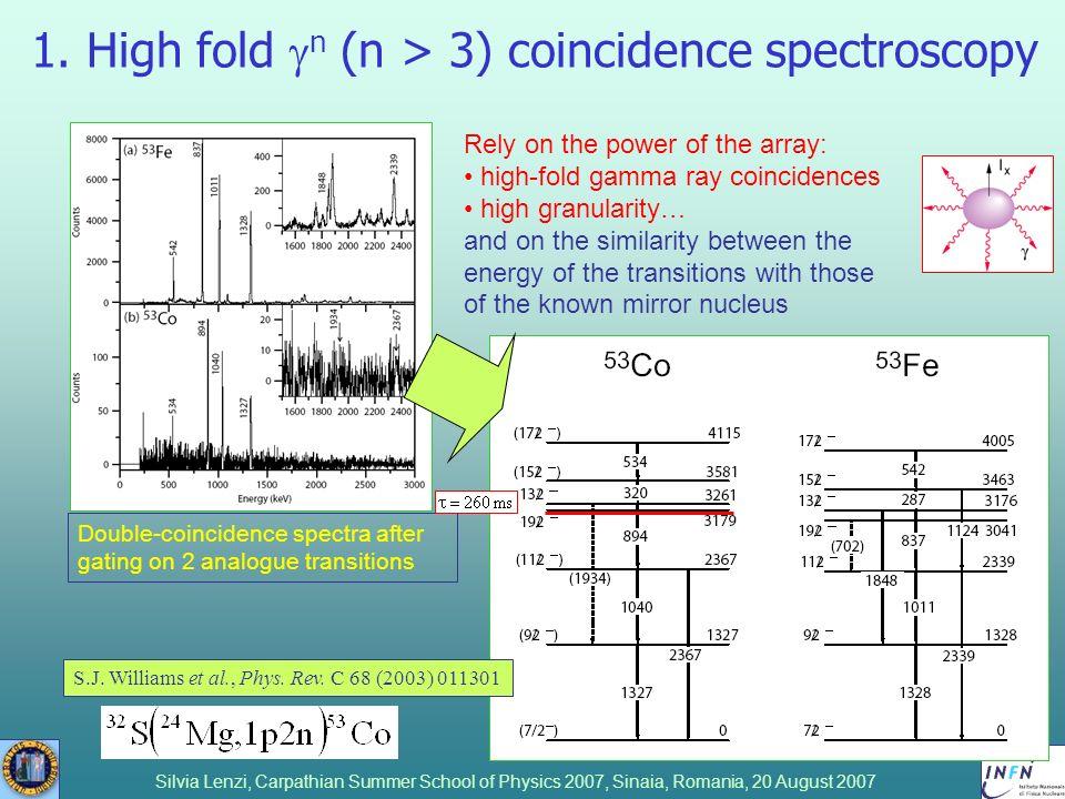 Silvia Lenzi, Carpathian Summer School of Physics 2007, Sinaia, Romania, 20 August 2007 1. High fold n (n > 3) coincidence spectroscopy S.J. Williams