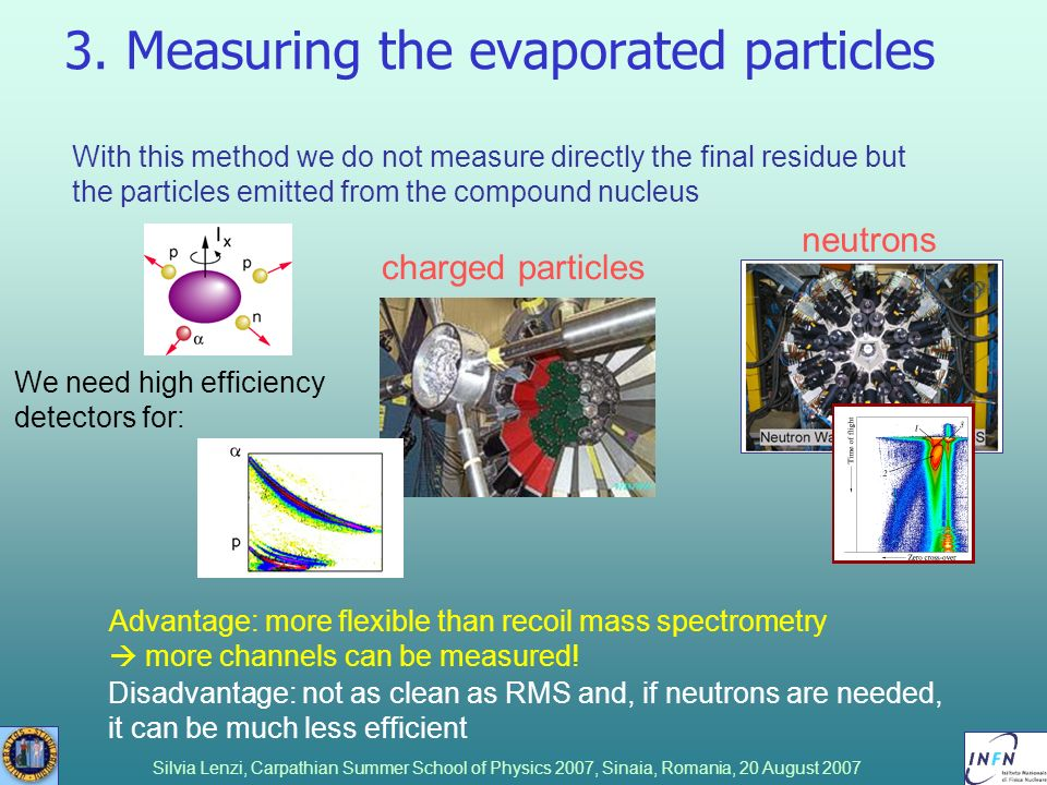 Silvia Lenzi, Carpathian Summer School of Physics 2007, Sinaia, Romania, 20 August 2007 3. Measuring the evaporated particles With this method we do n