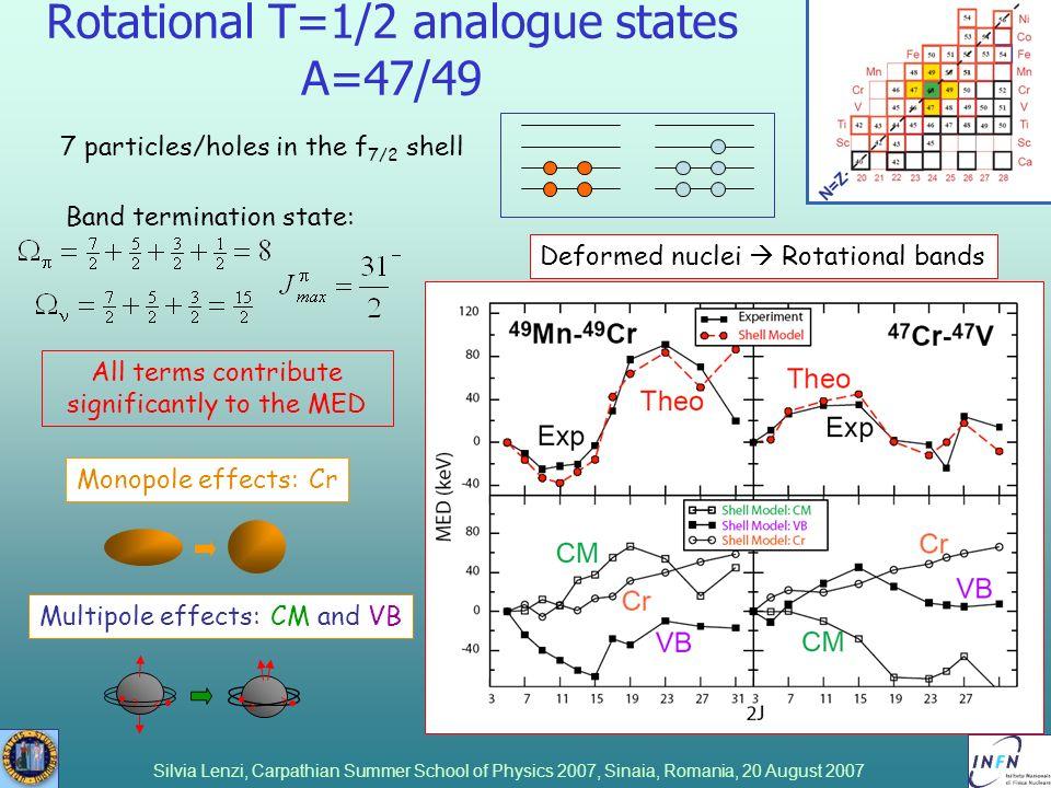 Silvia Lenzi, Carpathian Summer School of Physics 2007, Sinaia, Romania, 20 August 2007 Rotational T=1/2 analogue states A=47/49 7 particles/holes in