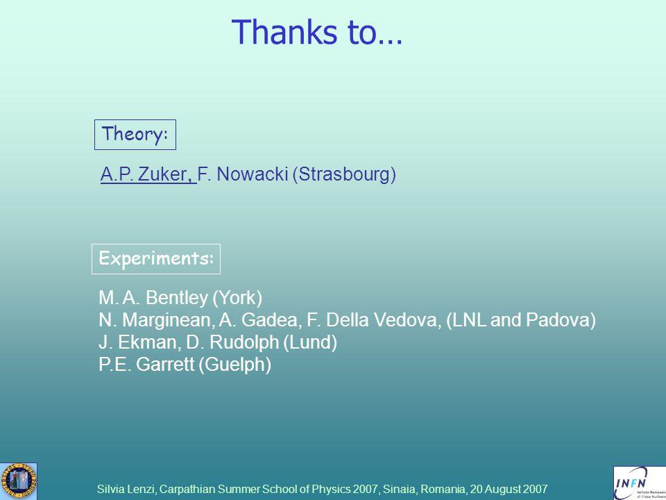 Silvia Lenzi, Carpathian Summer School of Physics 2007, Sinaia, Romania, 20 August 2007 Thanks to… M. A. Bentley (York) N. Marginean, A. Gadea, F. Del