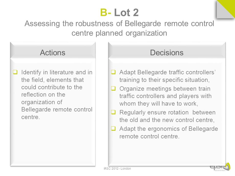 Actions Identify in literature and in the field, elements that could contribute to the reflection on the organization of Bellegarde remote control centre.