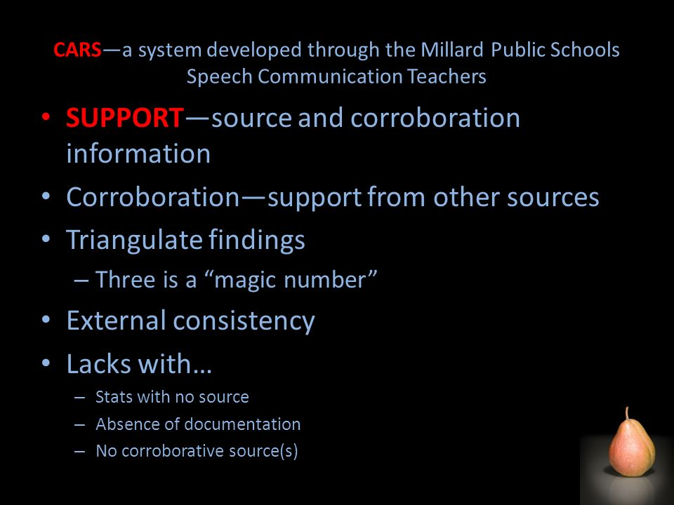 CARSa system developed through the Millard Public Schools Speech Communication Teachers SUPPORTsource and corroboration information Corroborationsuppo