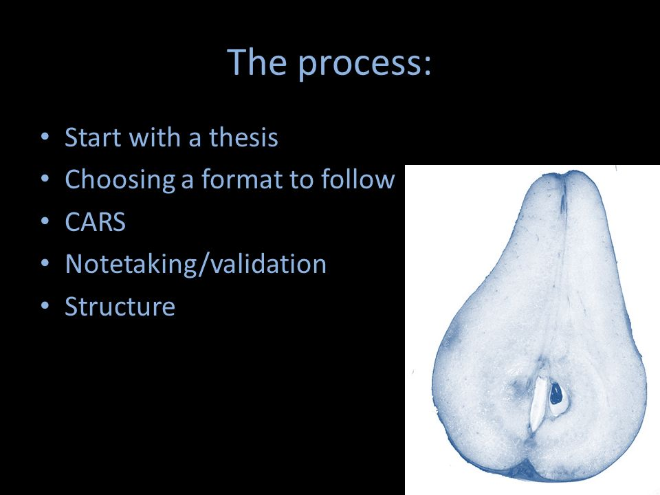 The process: Start with a thesis Choosing a format to follow CARS Notetaking/validation Structure
