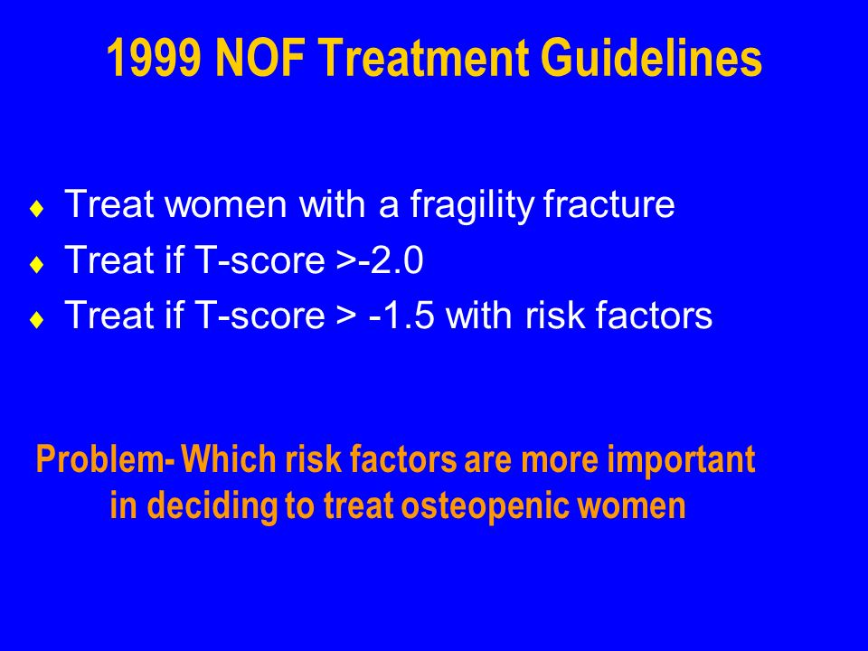 1999 NOF Treatment Guidelines Treat women with a fragility fracture Treat if T-score >-2.0 Treat if T-score > -1.5 with risk factors Problem- Which ri
