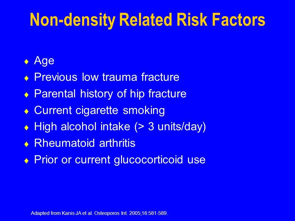 Non-density Related Risk Factors Age Previous low trauma fracture Parental history of hip fracture Current cigarette smoking High alcohol intake (> 3 units/day) Rheumatoid arthritis Prior or current glucocorticoid use Adapted from Kanis JA et al.
