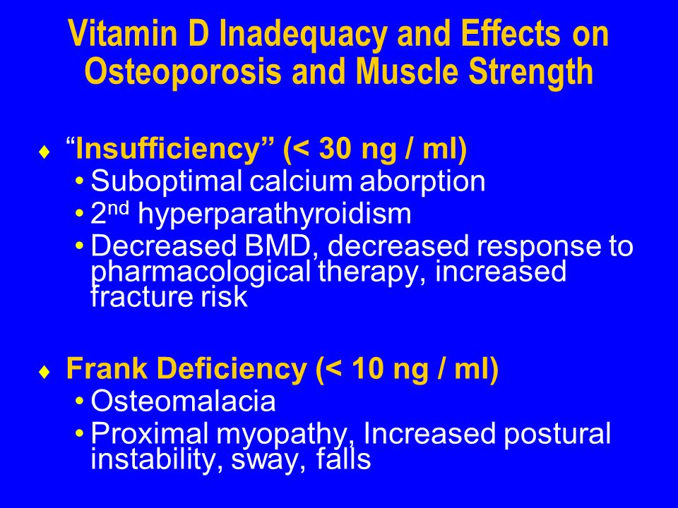 Vitamin D Inadequacy and Effects on Osteoporosis and Muscle Strength Insufficiency (< 30 ng / ml) Suboptimal calcium aborption 2 nd hyperparathyroidism Decreased BMD, decreased response to pharmacological therapy, increased fracture risk Frank Deficiency (< 10 ng / ml) Osteomalacia Proximal myopathy, Increased postural instability, sway, falls