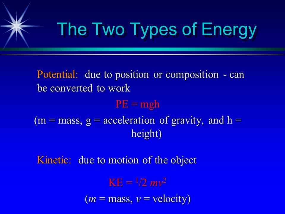 Law of Conservation of Energy Energy can be converted from one form to another but can neither be created nor destroyed. (E universe is constant)