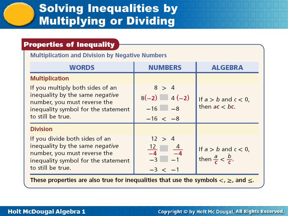 Holt McDougal Algebra 1 Solving Inequalities by Multiplying or Dividing