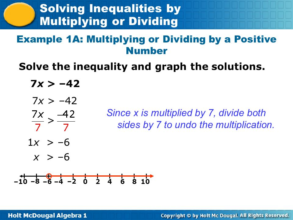 Holt McDougal Algebra 1 Solving Inequalities by Multiplying or Dividing Example 1A: Multiplying or Dividing by a Positive Number Solve the inequality