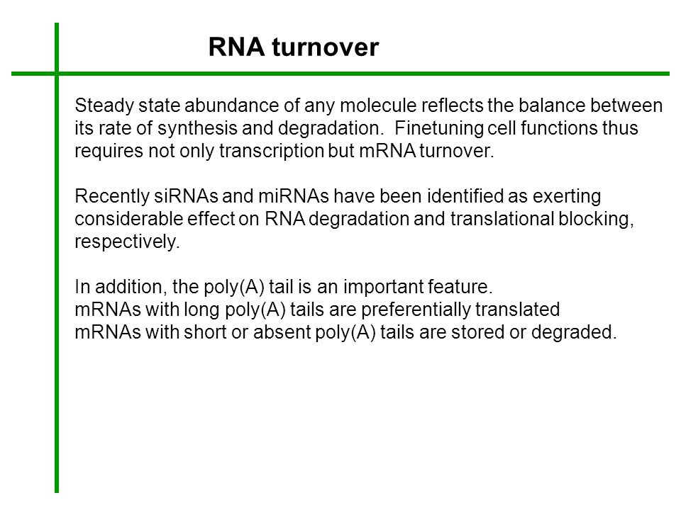 RNA turnover Steady state abundance of any molecule reflects the balance between its rate of synthesis and degradation. Finetuning cell functions thus