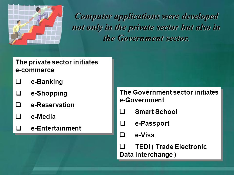 Computer applications were developed not only in the private sector but also in the Government sector.