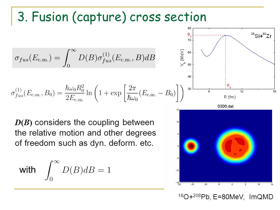 3. Fusion (capture) cross section with D(B) considers the coupling between the relative motion and other degrees of freedom such as dyn. deform. etc.