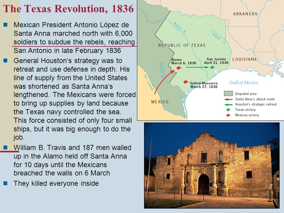Mexican President Antonio López de Santa Anna marched north with 6,000 soldiers to subdue the rebels, reaching San Antonio in late February 1836 Gener