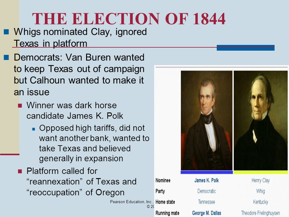 Pearson Education, Inc., publishing as Longman © 2008 THE ELECTION OF 1844 Whigs nominated Clay, ignored Texas in platform Democrats: Van Buren wanted