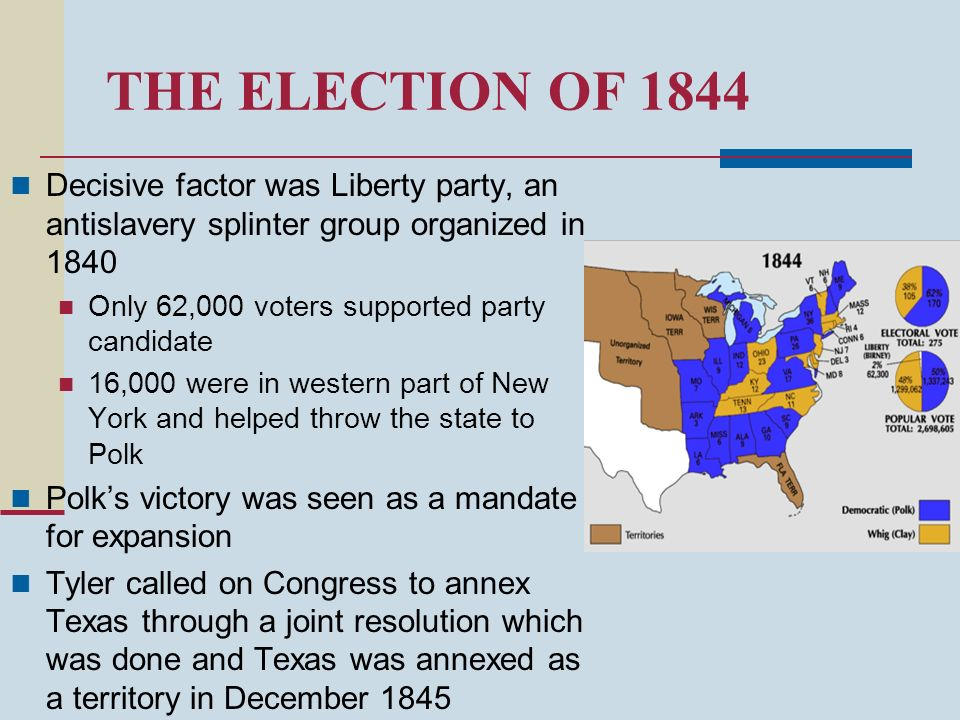 THE ELECTION OF 1844 Decisive factor was Liberty party, an antislavery splinter group organized in 1840 Only 62,000 voters supported party candidate 1