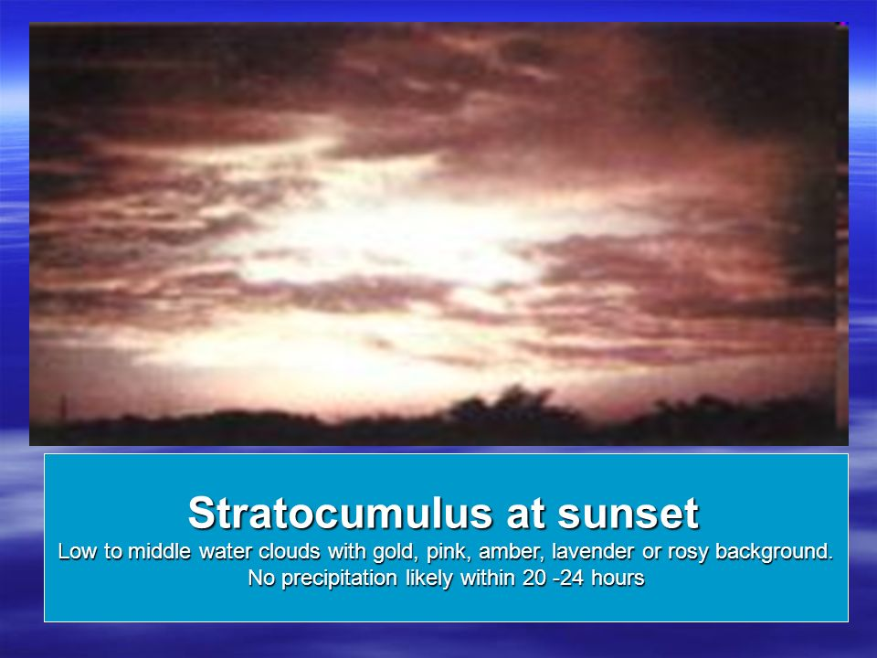 Stratocumulus at sunset Low to middle water clouds with gold, pink, amber, lavender or rosy background.