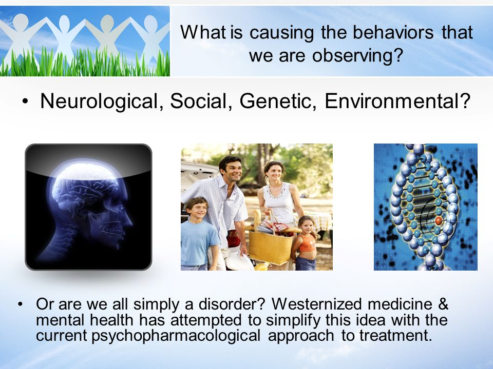 What is causing the behaviors that we are observing? Neurological, Social, Genetic, Environmental? Or are we all simply a disorder? Westernized medici