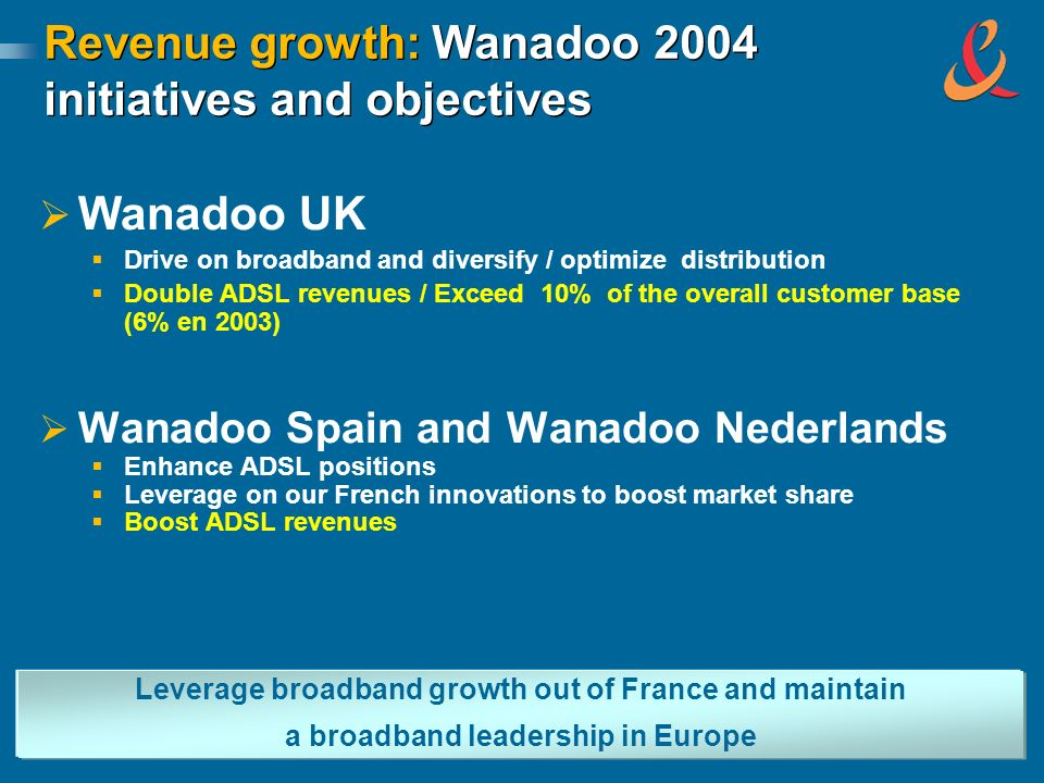 Revenue growth: Wanadoo 2004 initiatives and objectives Wanadoo UK Drive on broadband and diversify / optimize distribution Double ADSL revenues / Exceed 10% of the overall customer base (6% en 2003) Wanadoo Spain and Wanadoo Nederlands Enhance ADSL positions Leverage on our French innovations to boost market share Boost ADSL revenues Leverage broadband growth out of France and maintain a broadband leadership in Europe