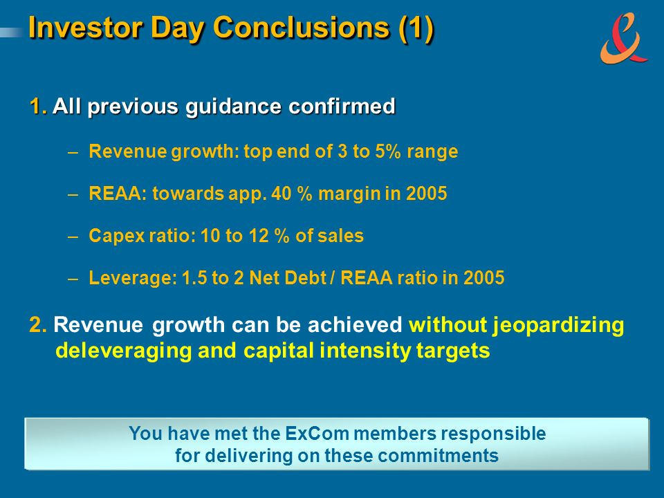 Investor Day Conclusions (1) You have met the ExCom members responsible for delivering on these commitments 1. All previous guidance confirmed – –Reve