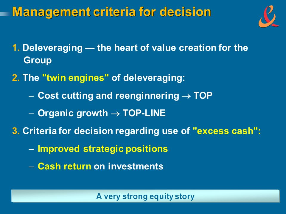 Management criteria for decision A very strong equity story 1. Deleveraging the heart of value creation for the Group 2. The