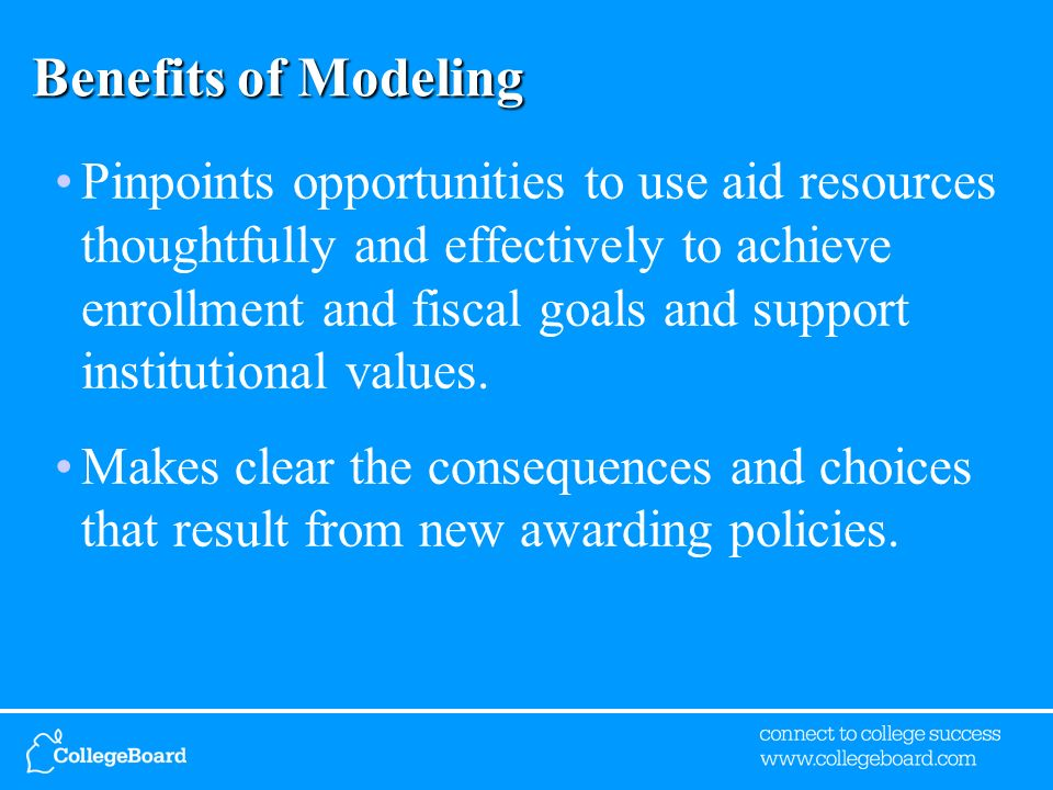 Benefits of Modeling Pinpoints opportunities to use aid resources thoughtfully and effectively to achieve enrollment and fiscal goals and support inst