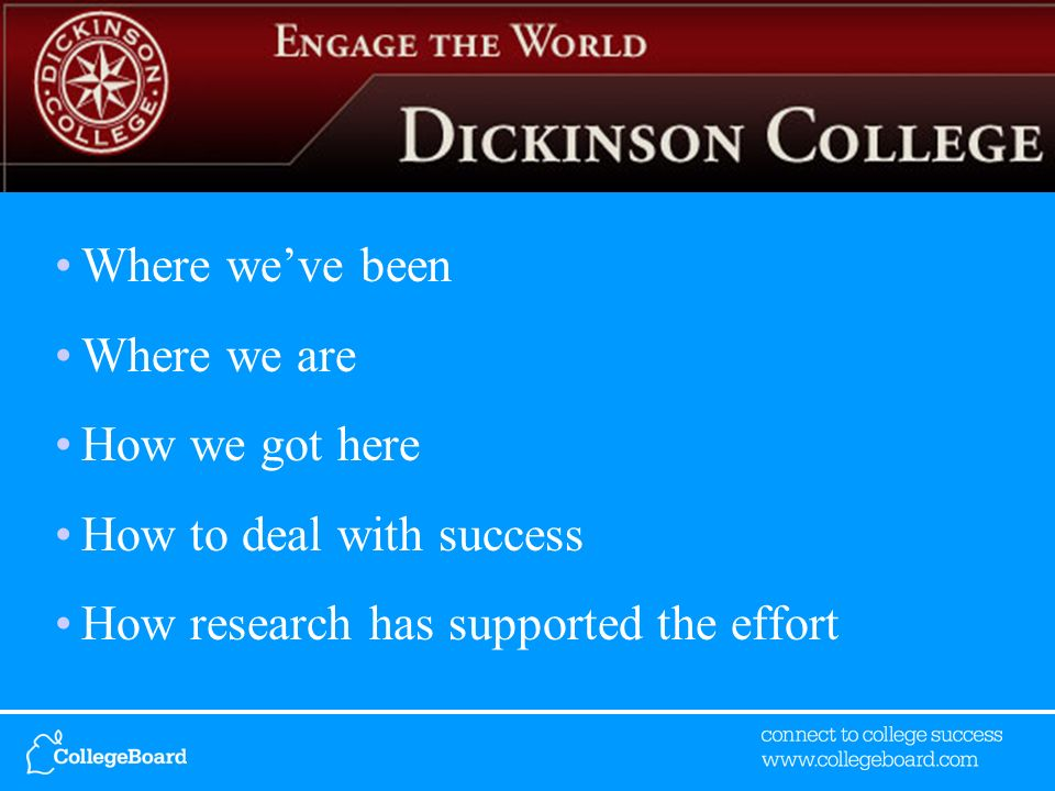 Where weve been Where we are How we got here How to deal with success How research has supported the effort