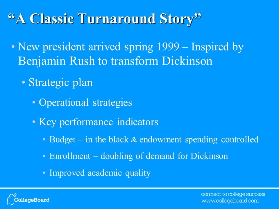 A Classic Turnaround Story New president arrived spring 1999 – Inspired by Benjamin Rush to transform Dickinson Strategic plan Operational strategies Key performance indicators Budget – in the black & endowment spending controlled Enrollment – doubling of demand for Dickinson Improved academic quality