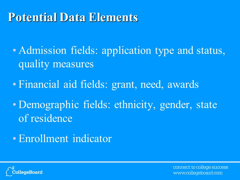 Potential Data Elements Admission fields: application type and status, quality measures Financial aid fields: grant, need, awards Demographic fields: ethnicity, gender, state of residence Enrollment indicator