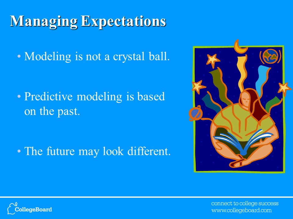 Managing Expectations Modeling is not a crystal ball. Predictive modeling is based on the past. The future may look different.