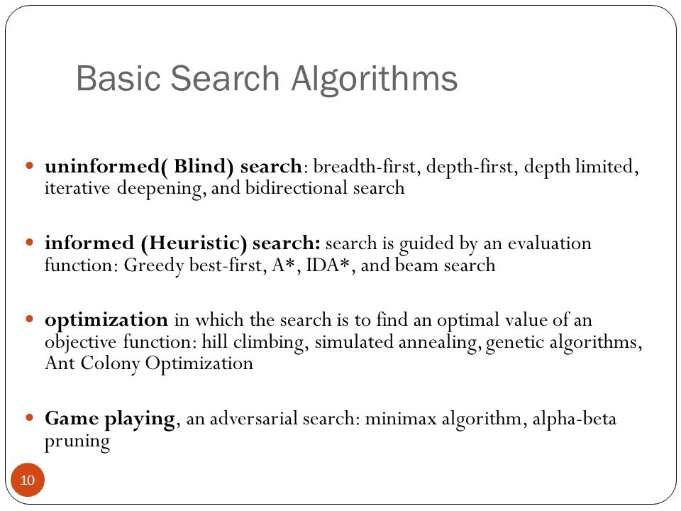 Basic Search Algorithms 10 uninformed( Blind) search: breadth-first, depth-first, depth limited, iterative deepening, and bidirectional search informe