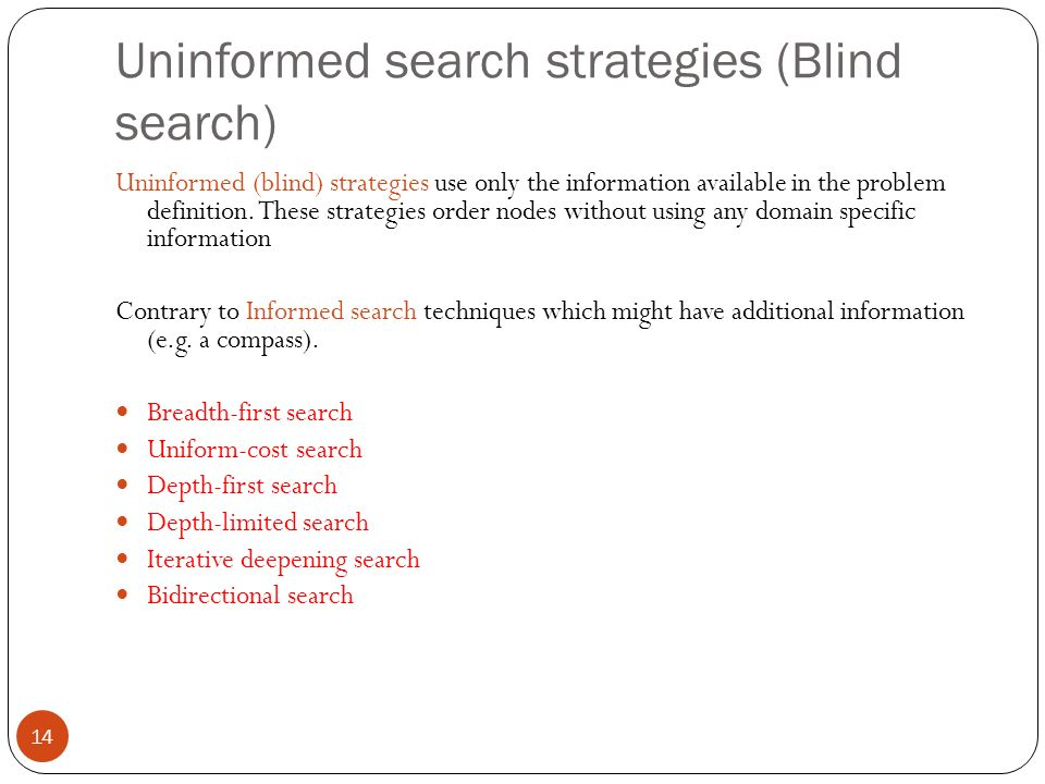 Uninformed search strategies (Blind search) 14 Uninformed (blind) strategies use only the information available in the problem definition. These strat