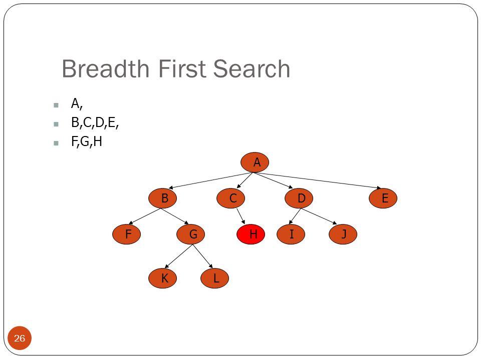 Breadth First Search 26 A, B,C,D,E, F,G,H A BCED FGHIJ KL