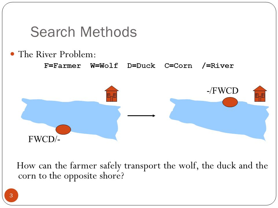 4 Problem formulation: State representation: location of farmer and items in both sides of river [ items in South shore / items in North shore ] : (FWDC/-, FD/WC, C/FWD …) Initial State: farmer, wolf, duck and corn in the south shore FWDC/- Goal State: farmer, duck and corn in the north shore -/FWDC Operators: the farmer takes in the boat at most one item from one side to the other side (F-Takes-W, F-Takes-D, F-Takes-C, F-Takes-Self [himself only]) Path cost: the number of crossings Search Methods
