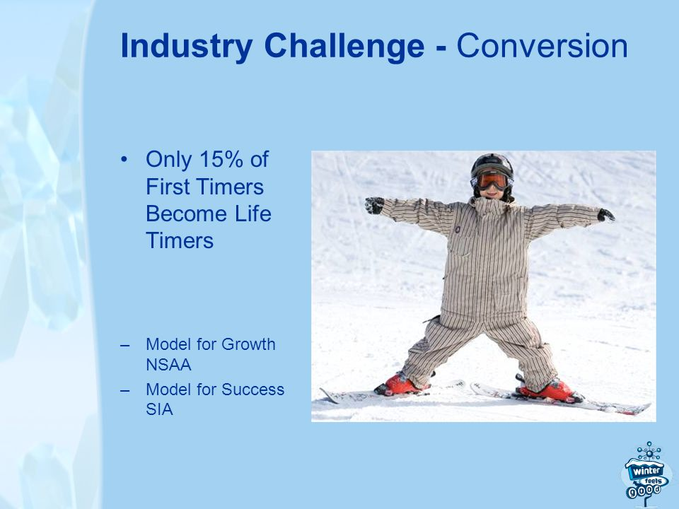 Industry Challenge - Conversion Only 15% of First Timers Become Life Timers –Model for Growth NSAA –Model for Success SIA