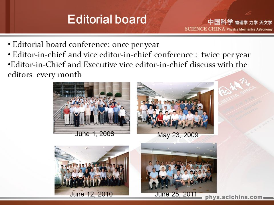 Editorial board June 1, 2008 May 23, 2009 Editorial board conference: once per year Editor-in-chief and vice editor-in-chief conference : twice per ye