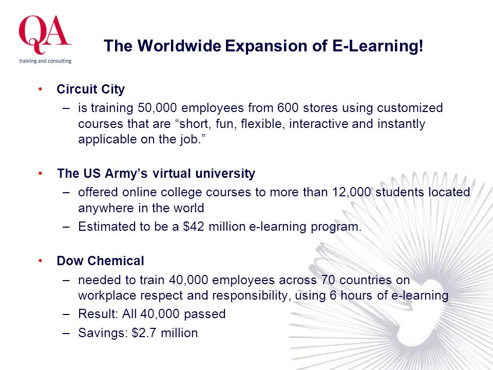 The Worldwide Expansion of E-Learning! Circuit City –is training 50,000 employees from 600 stores using customized courses that are short, fun, flexib