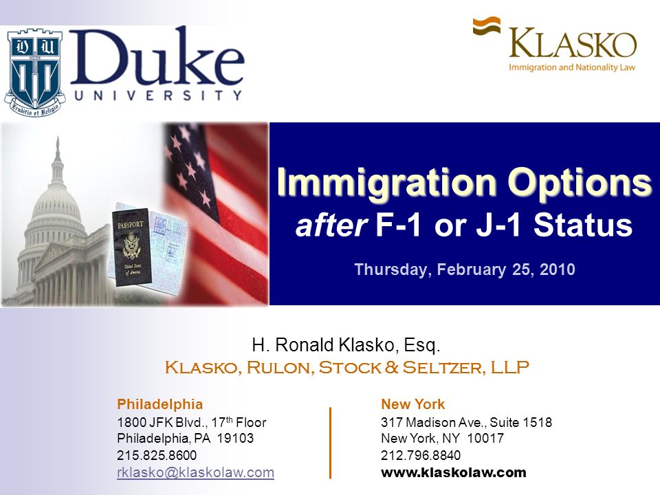 Klasko, Rulon, Stock & Seltzer, LLP H.Ronald Klasko, Esq.