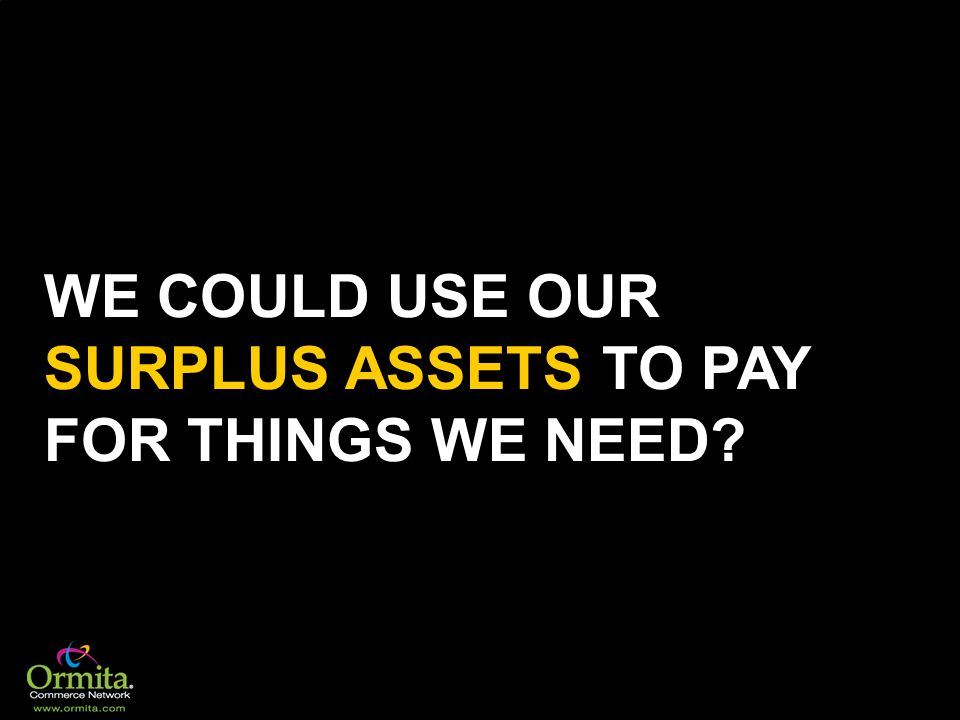 WE COULD USE OUR SURPLUS ASSETS TO PAY FOR THINGS WE NEED?