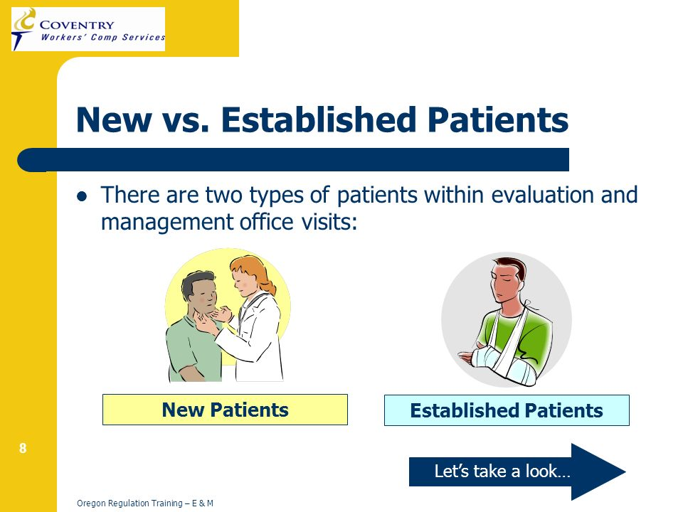 19 Oregon Regulation Training – E & M Subsequent Hospital Visits However, if a physician from a different specialty group visits the patient, the service may be billed with initial inpatient consultation codes or subsequent hospital care codes.
