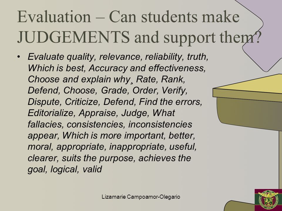Evaluation – Can students make JUDGEMENTS and support them? Evaluate quality, relevance, reliability, truth, Which is best, Accuracy and effectiveness