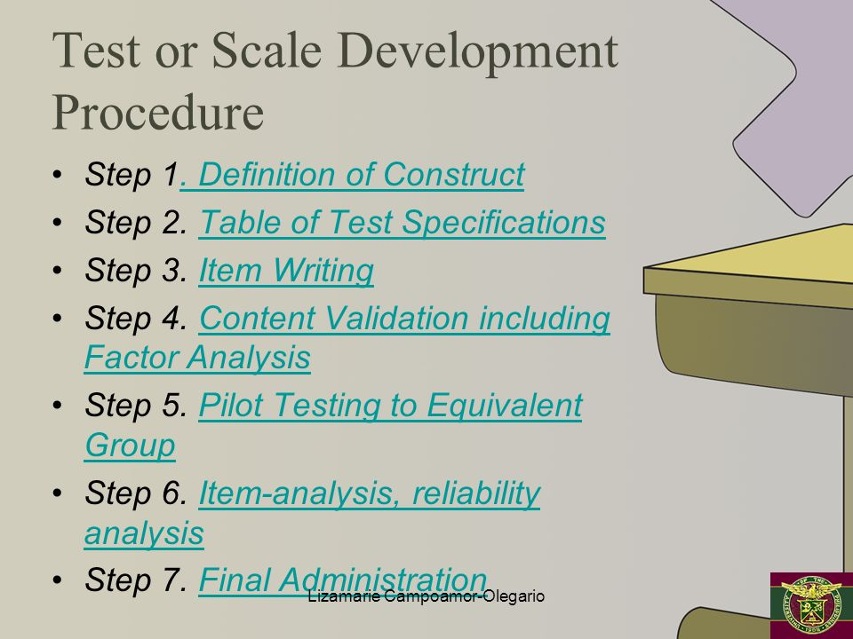 Test or Scale Development Procedure Step 1. Definition of Construct. Definition of Construct Step 2. Table of Test SpecificationsTable of Test Specifi