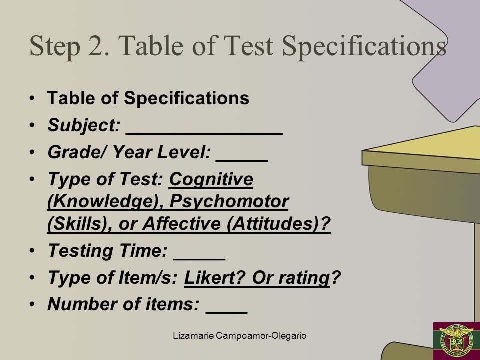 Step 2. Table of Test Specifications Table of Specifications Subject: _______________ Grade/ Year Level: _____ Type of Test: Cognitive (Knowledge), Ps
