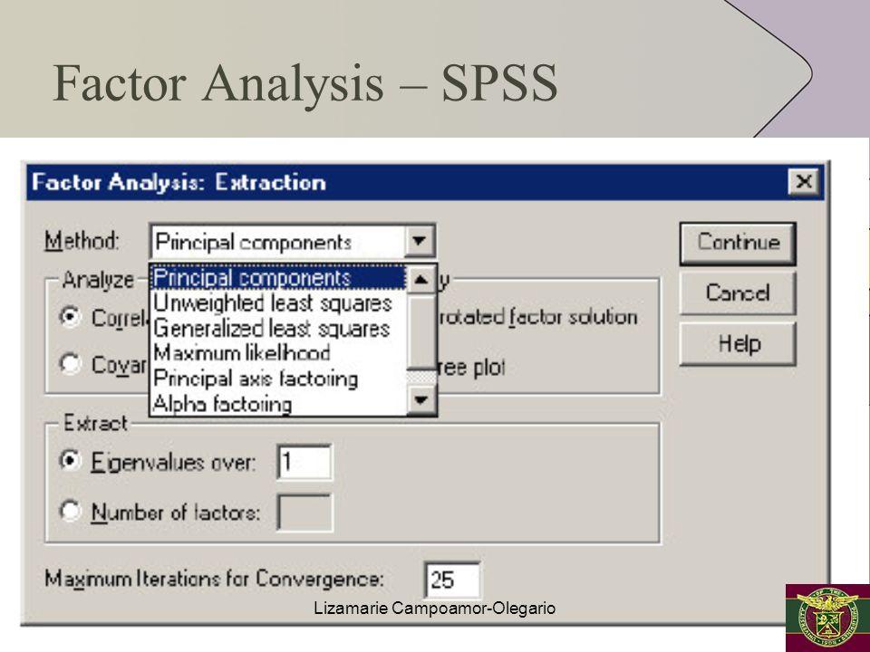 Factor Analysis – SPSS Lizamarie Campoamor-Olegario