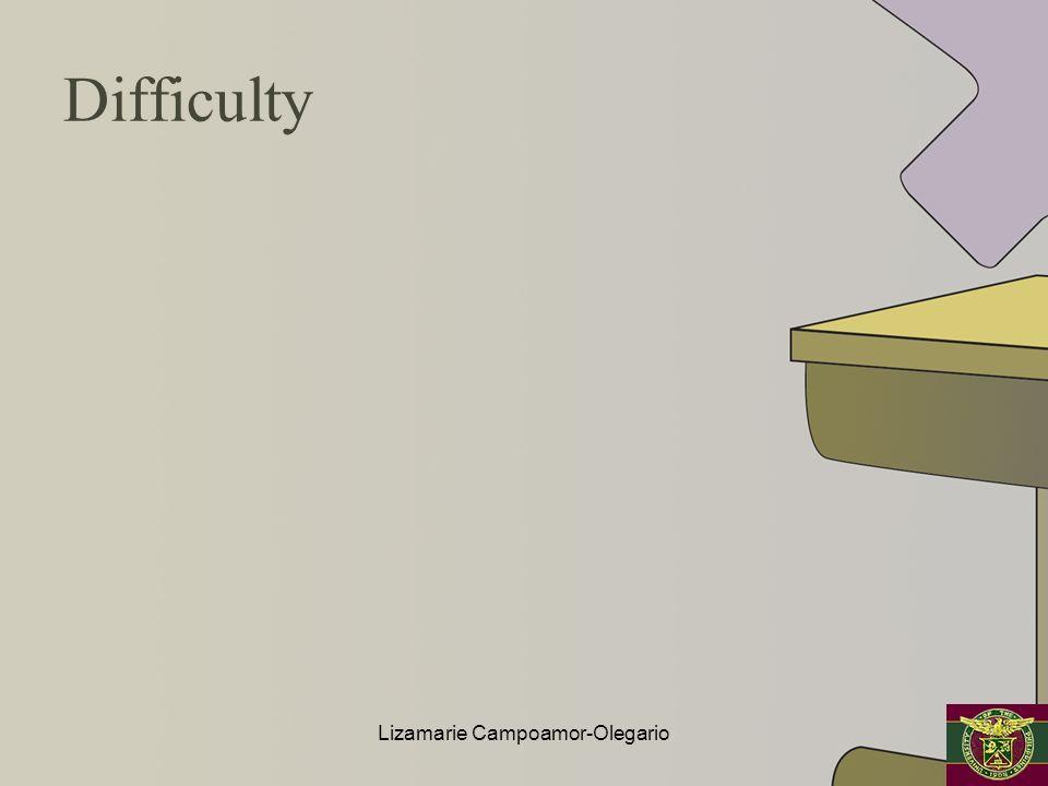 Difficulty Lizamarie Campoamor-Olegario